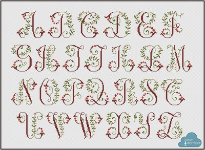 Vintage Floral Alphabet Monogram Cross Stitch Pattern PDF + XSD. Flowers ABC Cross Stitch Chart PDF. Instant Download