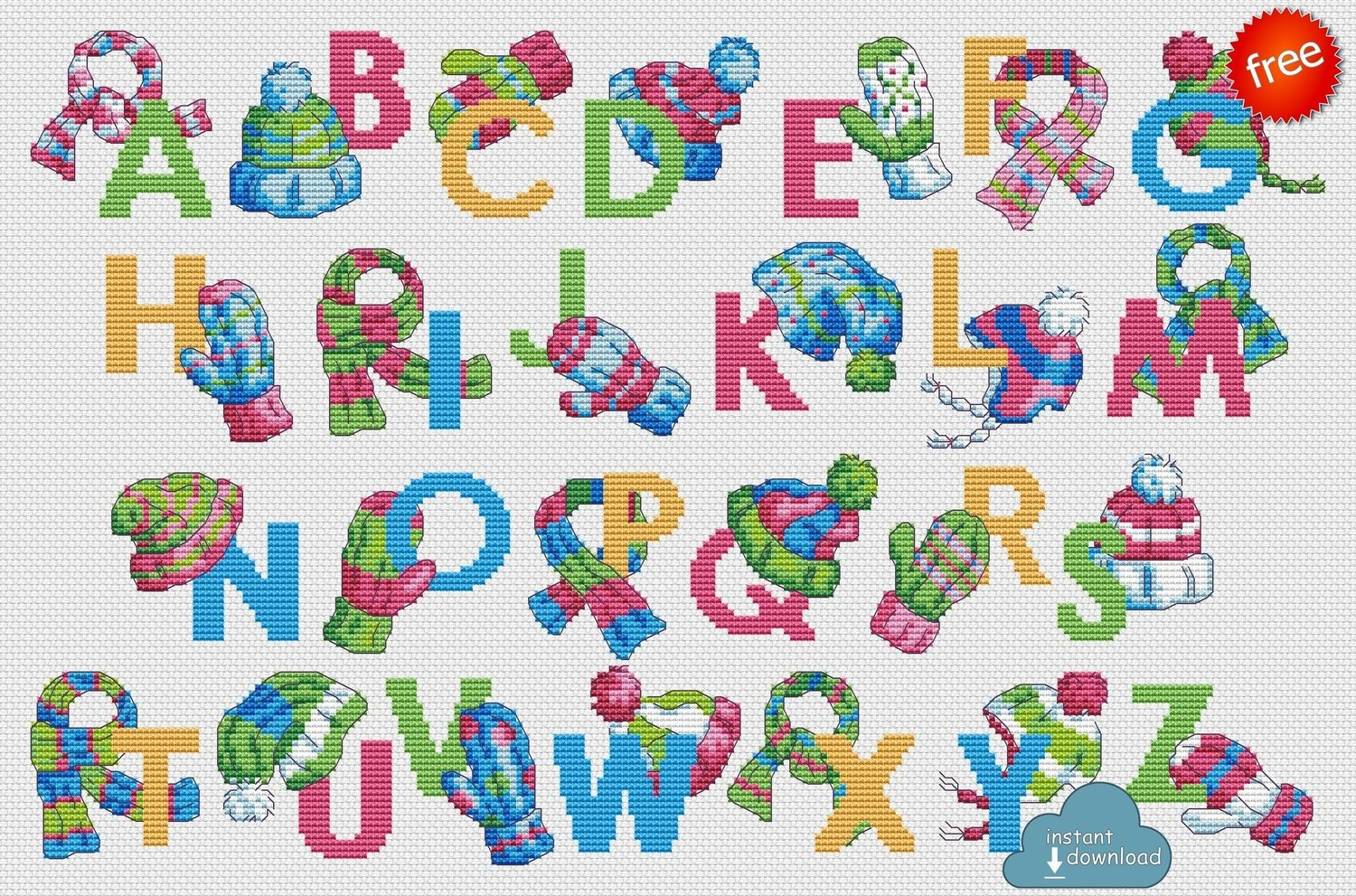 Winter Woolies ABC Cross Stitch Pattern PDF + XSD. Winter ABC Cross Stitch Chart PDF. Instant Download. Free