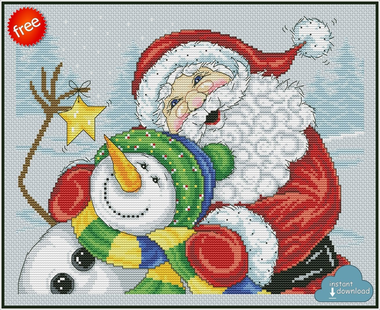 Merry Christmas Santa Snowman Cross Stitch Pattern PDF. Instant Download. Free