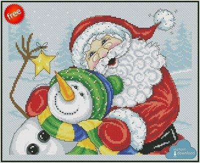 Merry Christmas Santa Snowman Cross Stitch Pattern PDF + XSD. Instant Download. Free
