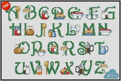 Kitchen Alphabet Monogram Cross Stitch Pattern PDF + XSD. Kitchen ABC Cross Stitch Chart PDF. Instant Download. FREE