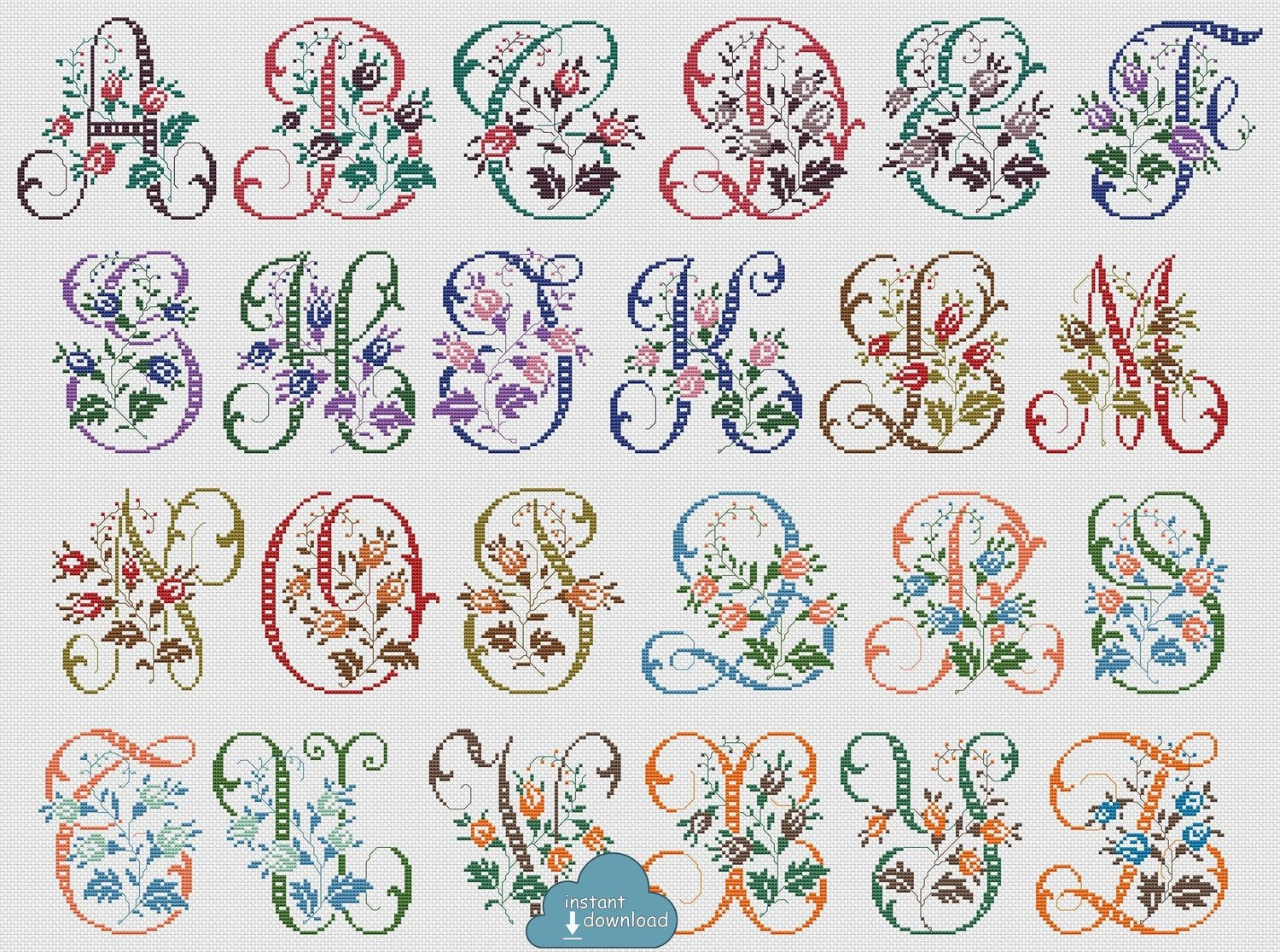 Antique Alphabet Monogram Multi-Color Cross Stitch Pattern PDF. Wild Roses ABC Cross Stitch Chart PDF. Instant Download
