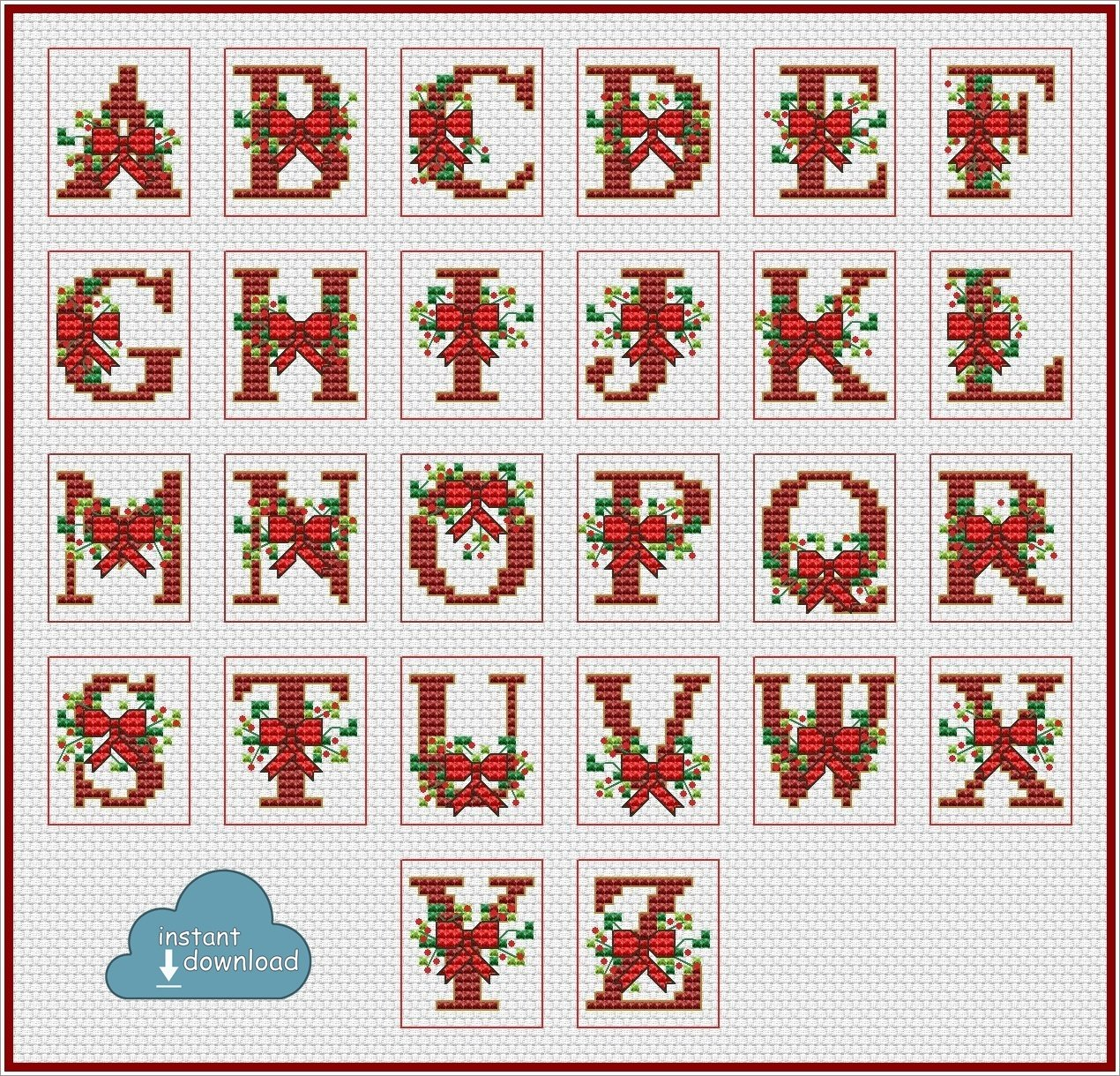 Christmas Alphabet Monogram Multi-Color Cross Stitch Pattern PDF + XSD. Bows ABC Cross Stitch Chart PDF. Instant Download