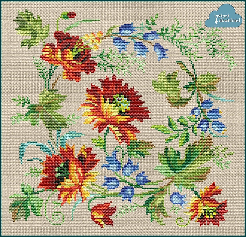 Floral Pillow Cross Stitch Pattern PDF. Instant Download.