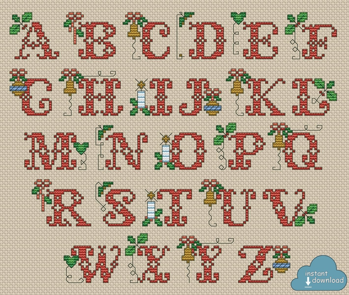 Christmas Alphabet Monogram Cross Stitch Pattern PDF. Traditional ABC Cross Stitch Chart PDF. Instant Download
