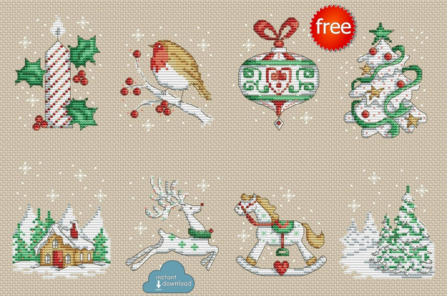 Christmas Motifs Set Cross Stitch Pattern PDF + XSD. Instant Download. Free