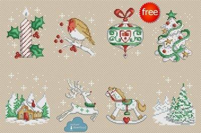 Christmas Motifs Set Cross Stitch Pattern PDF + XSD. Instant Download. Free