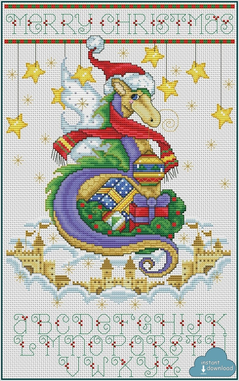Christmas Dragon Castle Cross Stitch Pattern PDF + XSD. Instant Download.