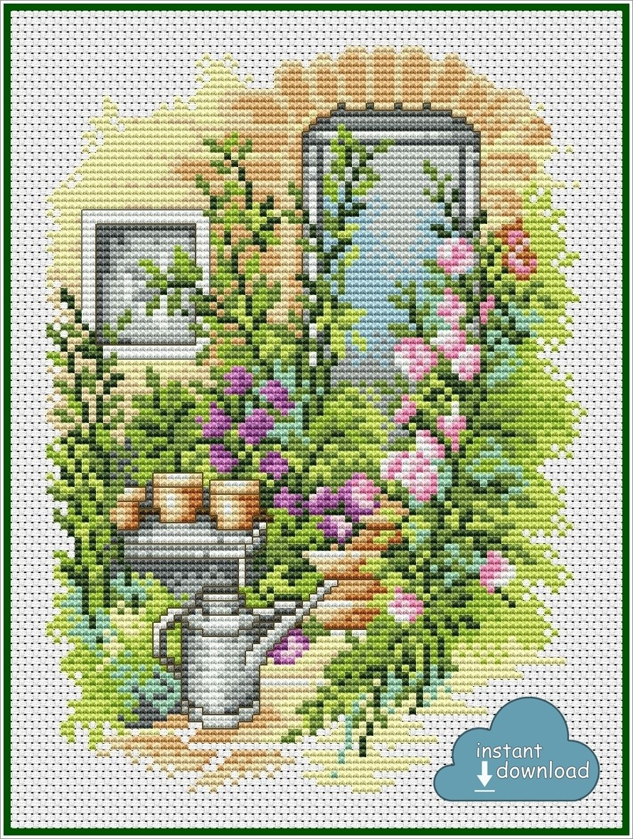 Summer Flowers Cross Stitch Pattern PDF + XSD. Country House Cross Stitch Chart. Instant Download