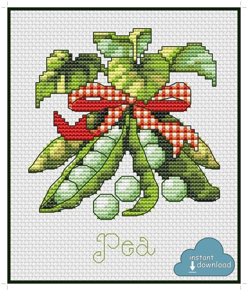 Pea Cross Stitch Pattern PDF + XSD. Instant Download.