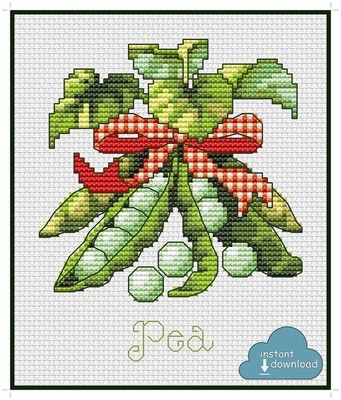 Pea Cross Stitch Pattern PDF + XSD. Instant Download.