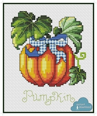 Pumpkin Cross Stitch Pattern PDF + XSD. Instant Download.