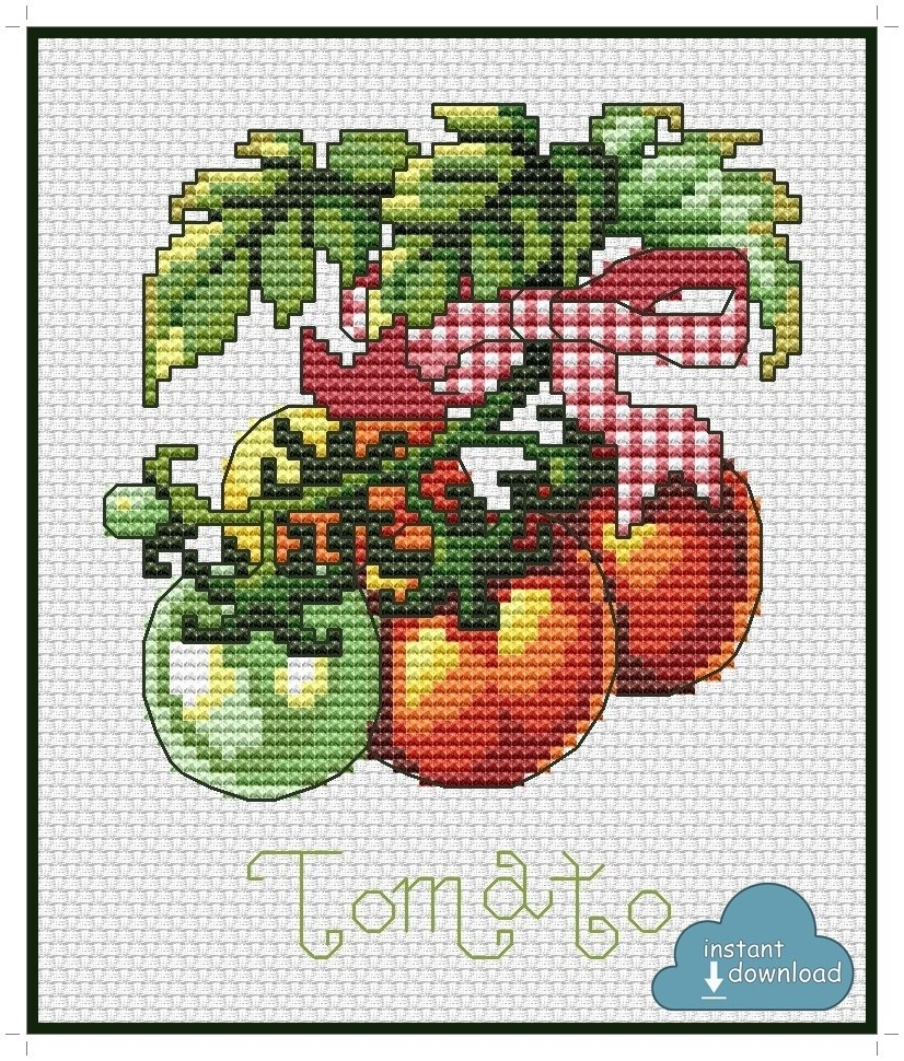 Tomato Cross Stitch Pattern PDF + XSD. Instant Download.