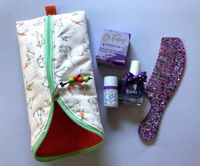 Handmade Makeup Gift Bag - purple bunnies