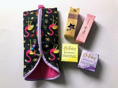 Handmade Makeup Gift Bag - flamingos