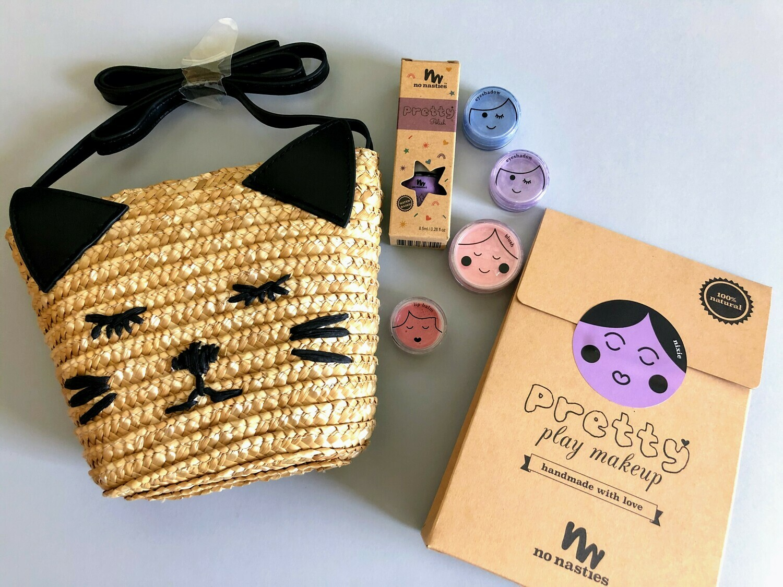 Play Makeup Gift Bag - Straw Black Cat Purple