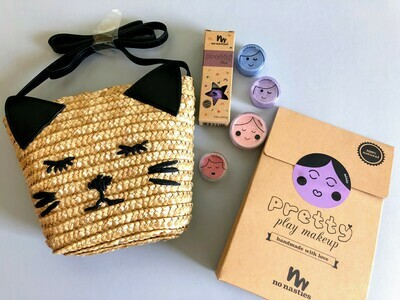Play Makeup Gift Bag - Straw Black Cat Purple