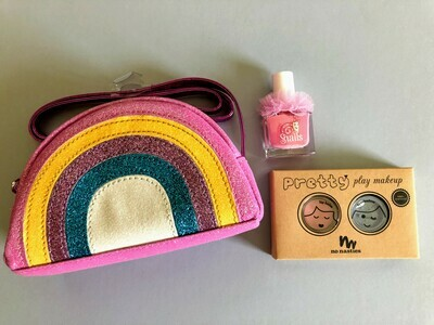 Play Makeup Gift Bag - Pink Glitter Rainbow