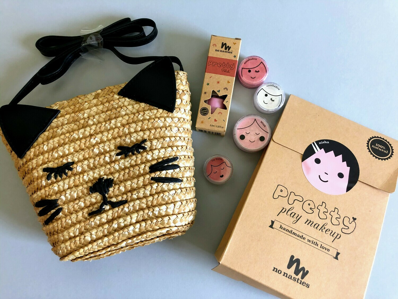 Play Makeup Gift Bag - Straw Black Cat Pink