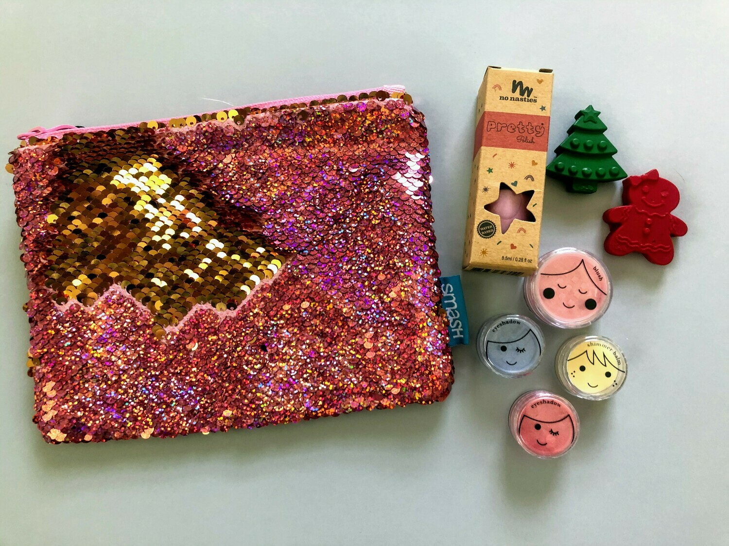 Play Makeup Gift Bag - Pink & Gold Sequins