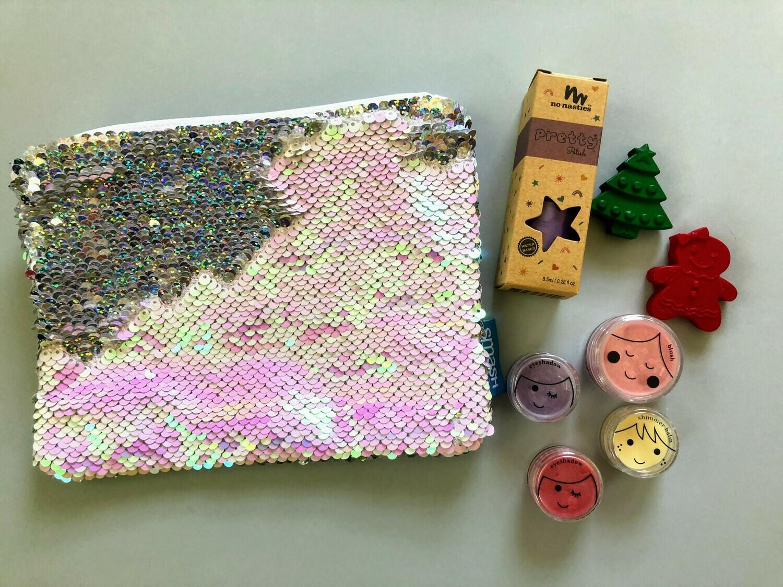 Play Makeup Gift Bag - Pink & Silver Sequins