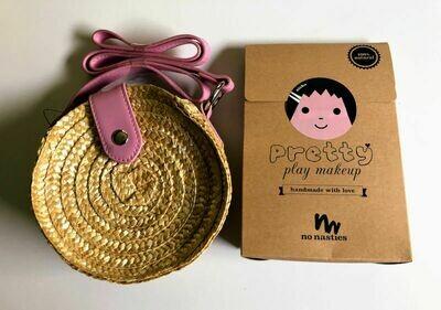 Play Makeup Gift Bag - Round Straw Pink