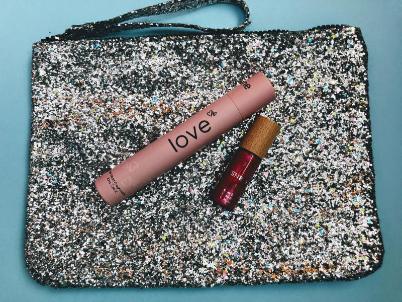 Sparkly Purse with nail polish and essential oils perfume