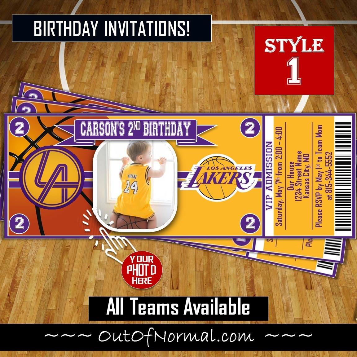 5c98e8db2 Los Angeles LA Lakers Photo NBA Basketball Birthday Invitation Ticket Style