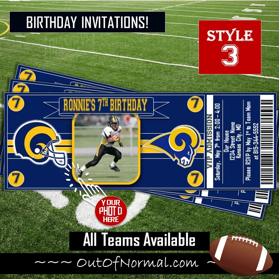 Los Angeles Rams Ticket Style Sports Party Invites