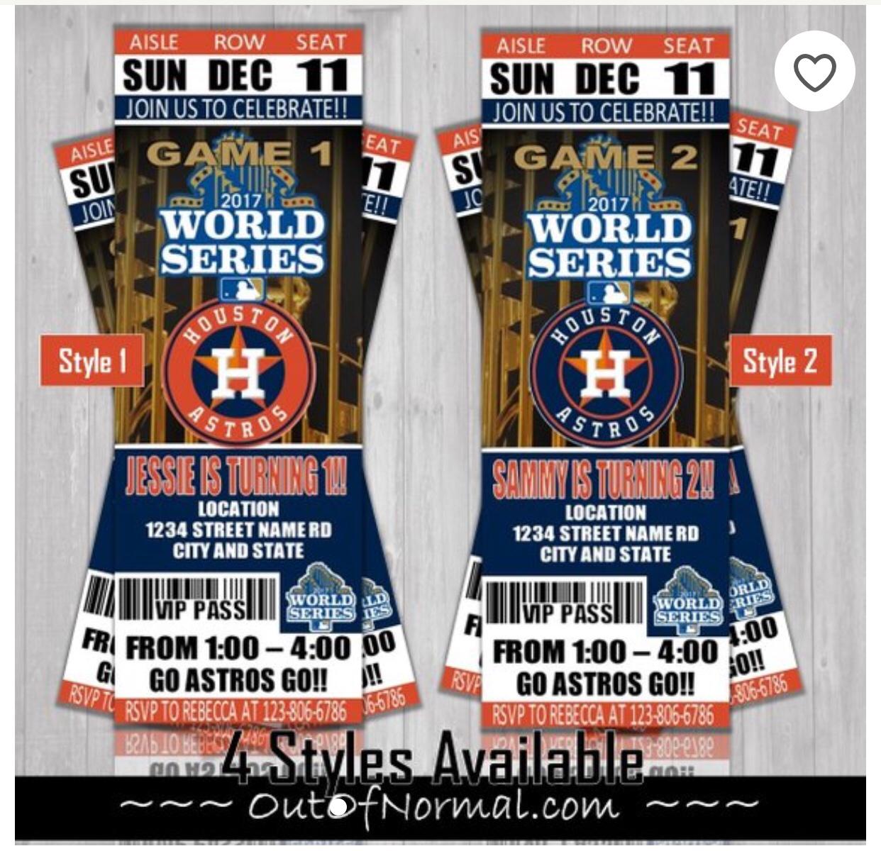 Houston Astros MLB Baseball Birthday Invitation Childs Party Vintage World Series Ticket Style