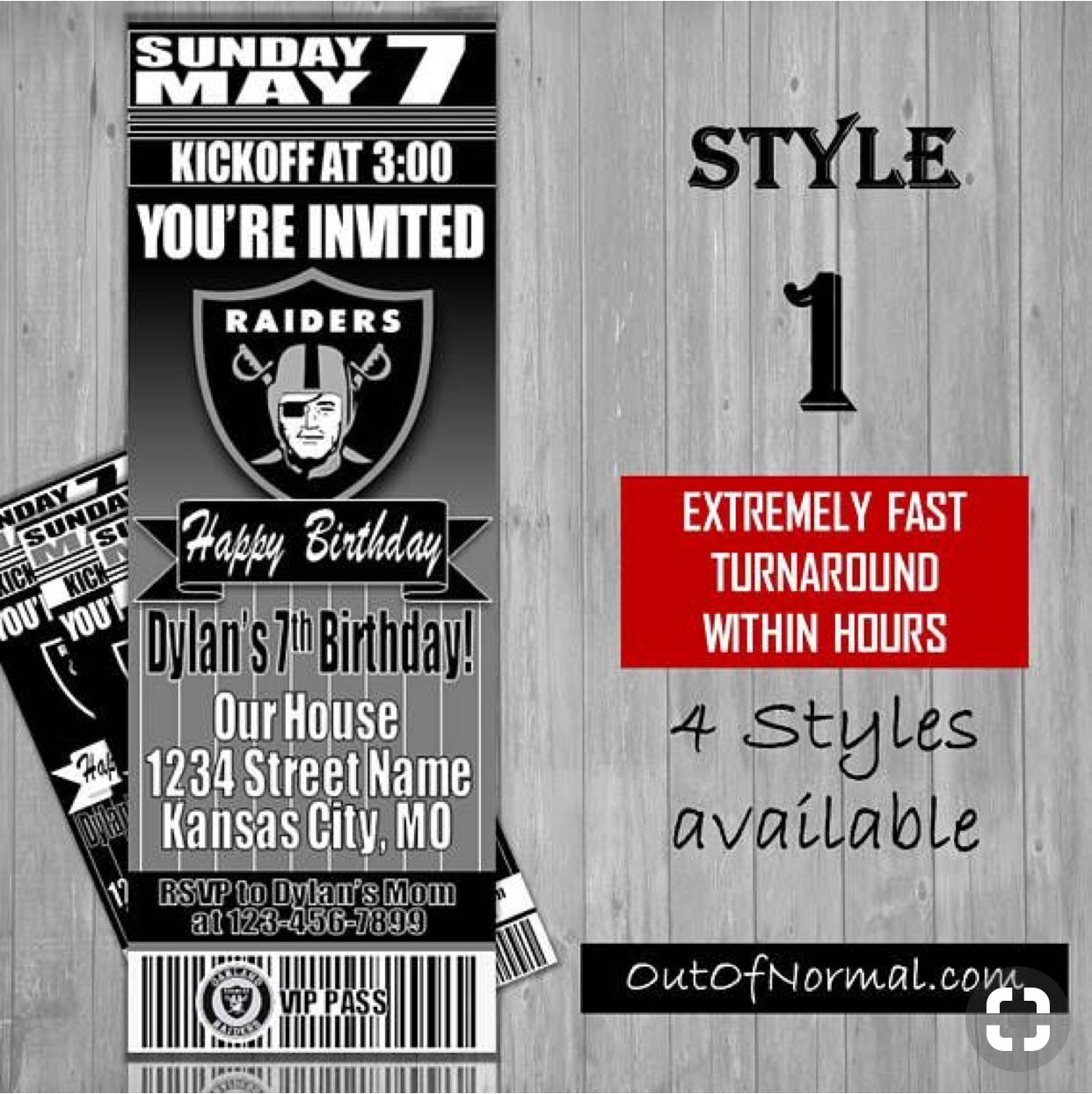 Oakland Raiders Nfl Football Ticket Style Invitation