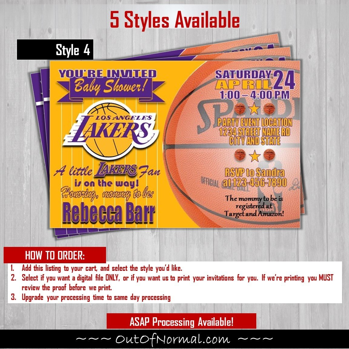 Los Angeles Lakers Baby Shower Basketball 4x6 Invitation