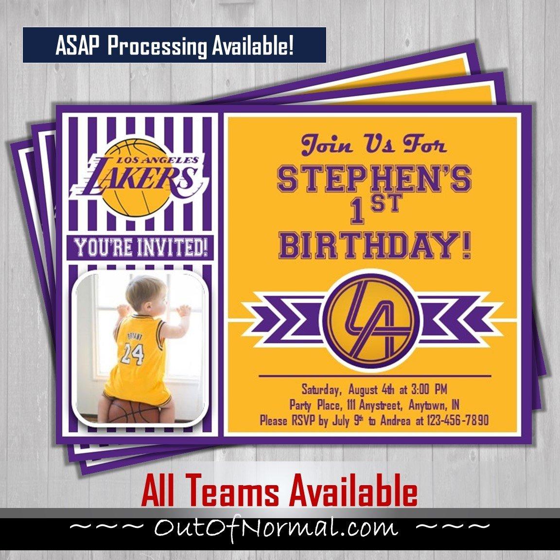 Los Angeles Lakers NBA Basketball Photo Invitation
