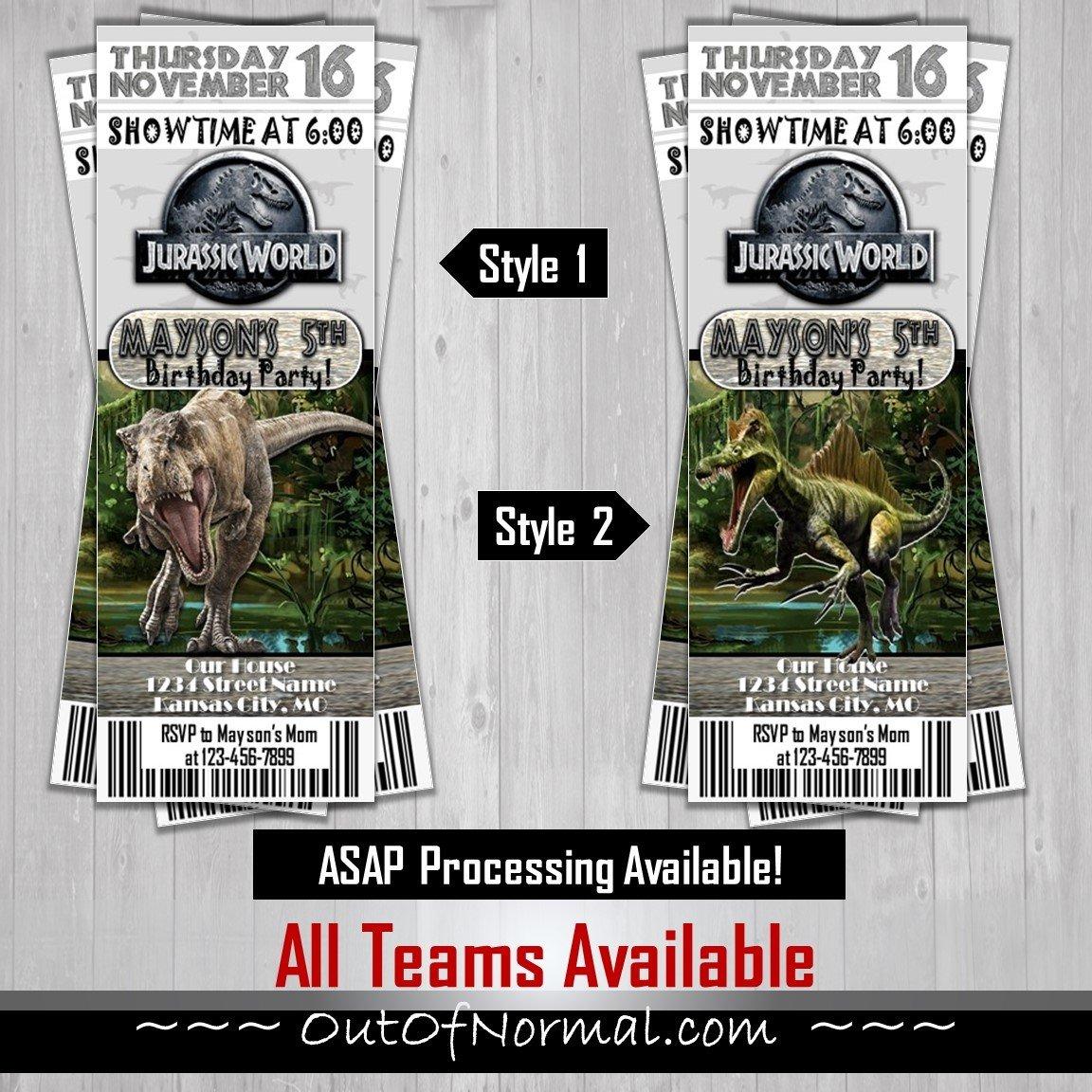 Dinosaur Jurassic Park Themed Invitation Ticket Invite
