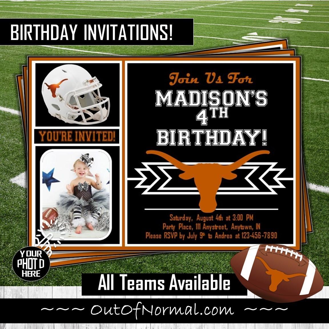 Texas Longhorns Photo Birthday Invitation College Footbal