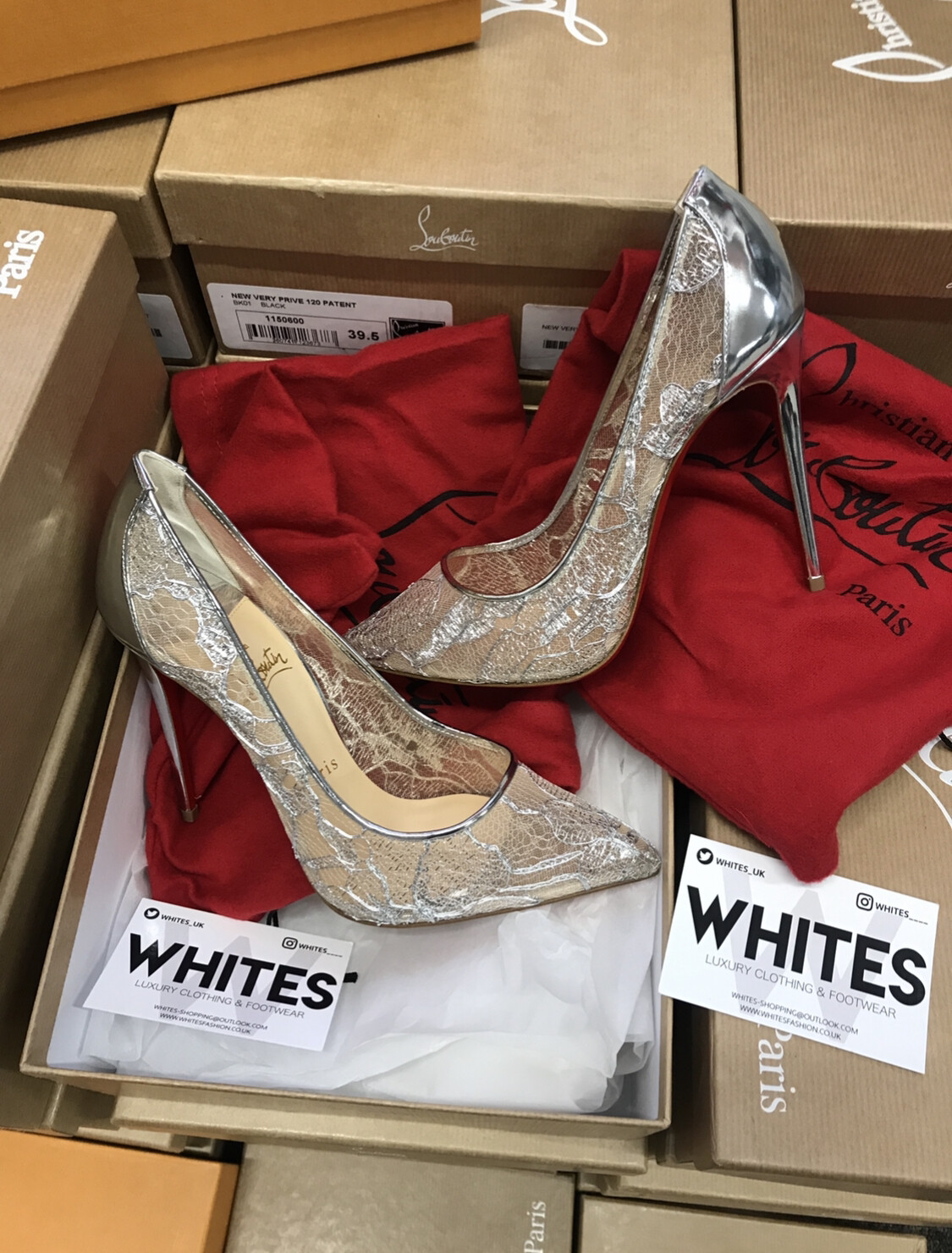 buy online ad4f0 55c62 Christian Louboutin Follies Lace 100 Rete Heels Silver
