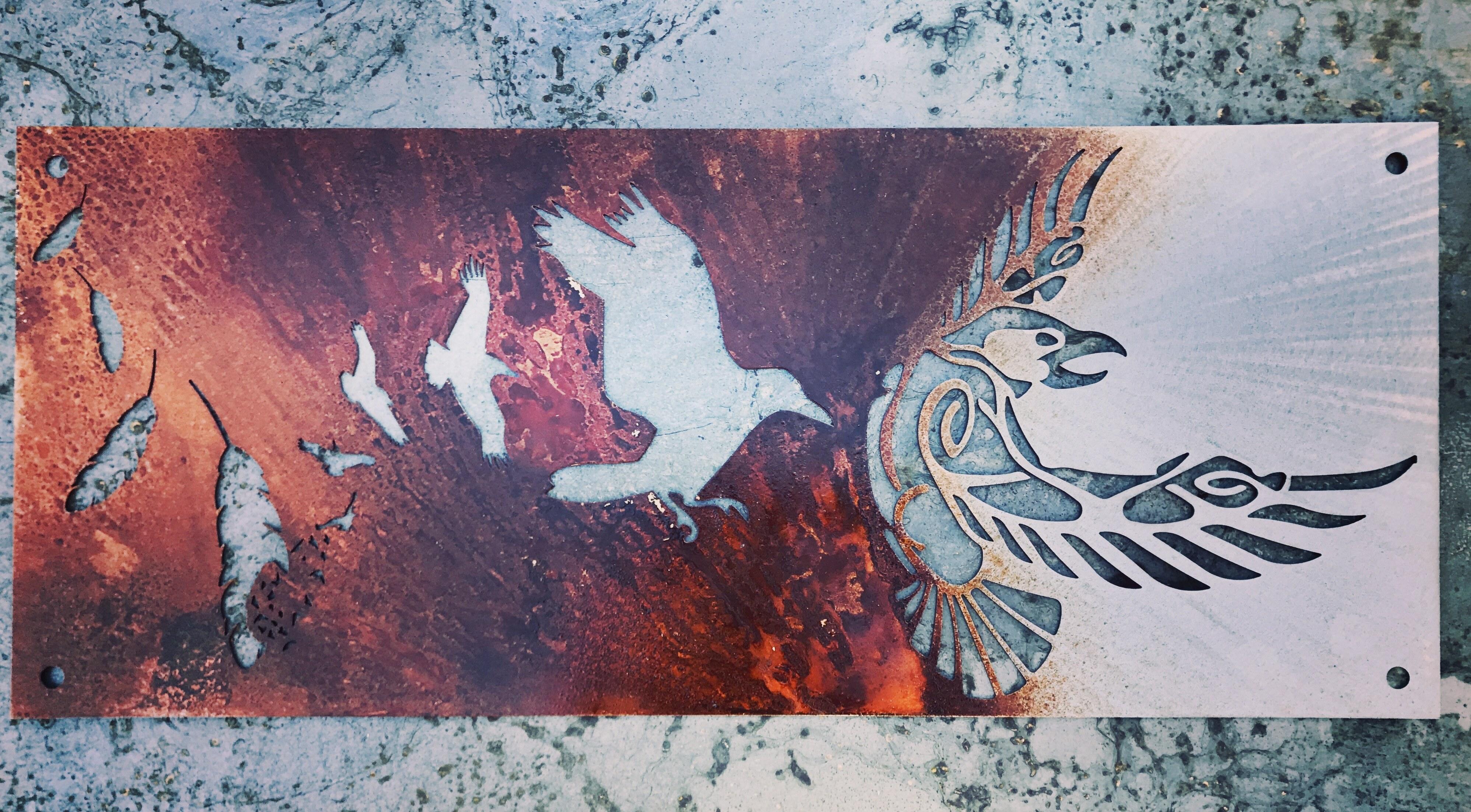Odin, Pagan Decor, Odins Raven, Viking Wall Art, Raven Wall Art, Metal Raven, Raven Wall Decor, Metal bird wall decor, Scrap Metal Art