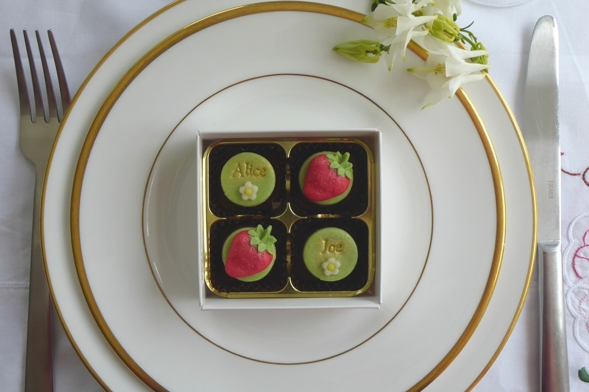 Strawberries - box of four wedding favours