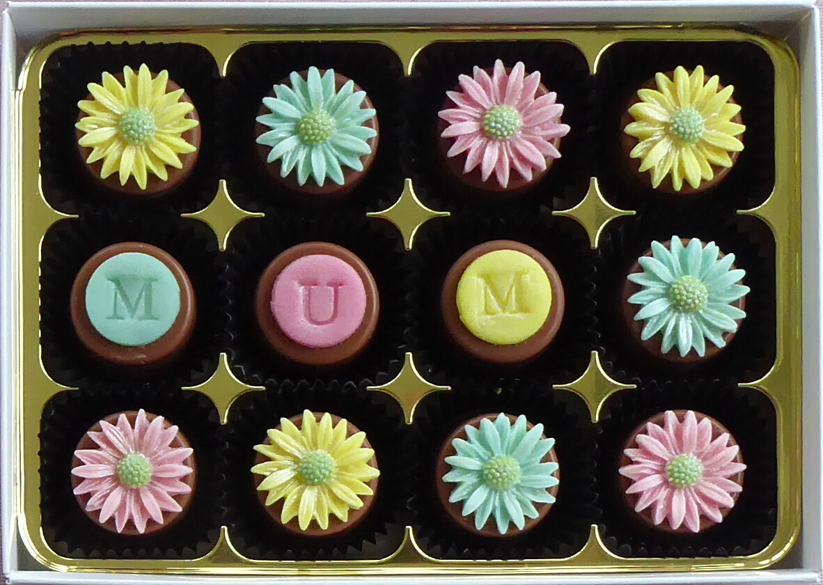 Personalised Pastel Daisies - marzipan chocolates
