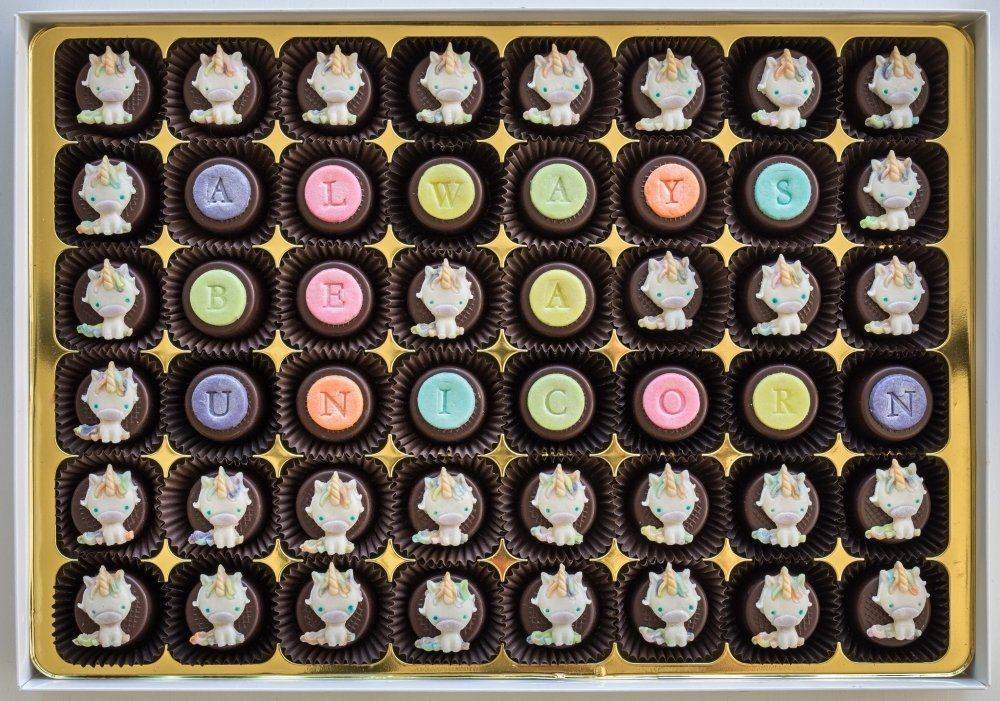 48 personalised chocs, choice of designs, marzipan filling