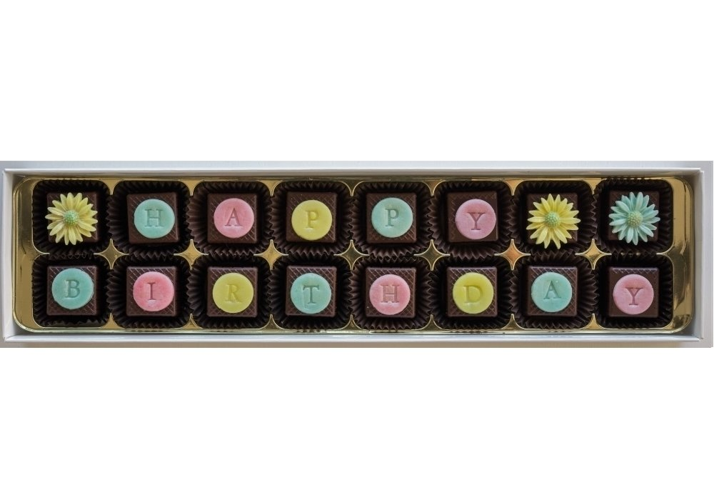 16 personalised chocs, choice of designs, marzipan filling