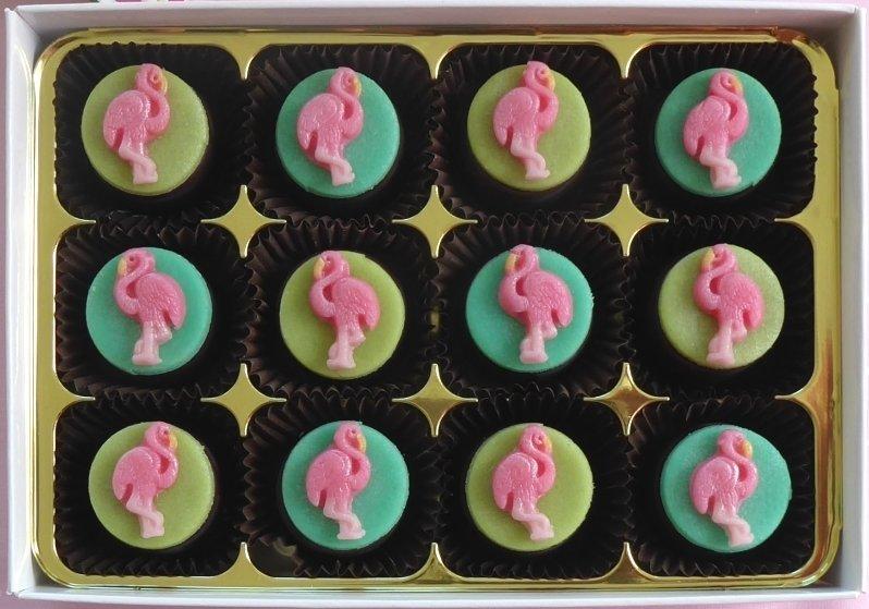 Pretty Flamingo - marzipan chocolates