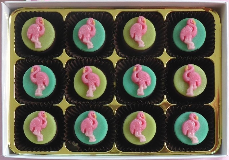 Pretty Flamingo - marzipan chocolates