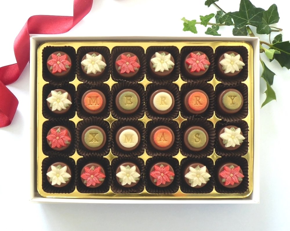 24 chocolates gives more space for your Xmas message.