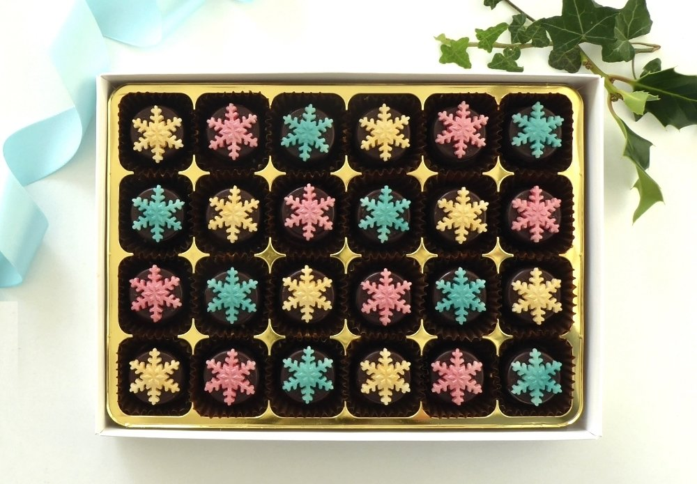 24 stylish and different chocolates,