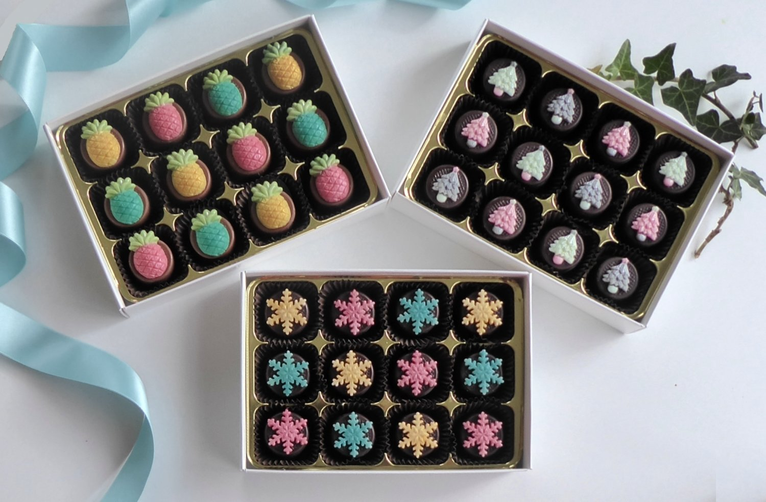Sparkly Collection - 3 box set of Christmas chocolates