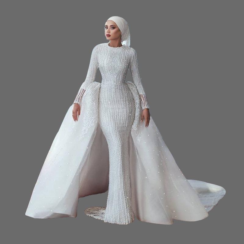 Long Sleeve Wedding Dress Muslim Wedding Dresses 2018 Modest Bride Latest  Designs Bridal Gown with Hijab