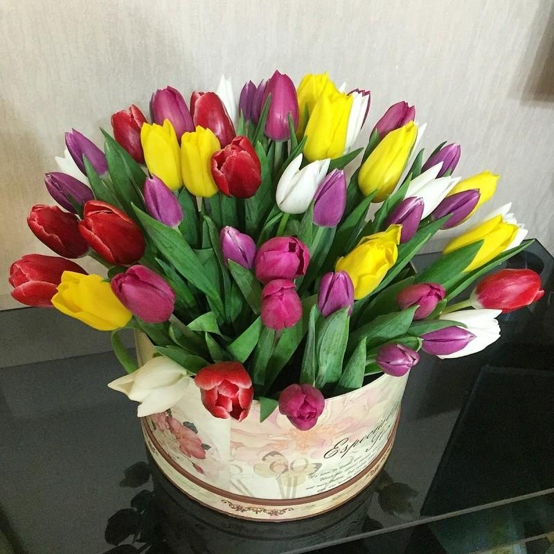 Разноцветный микс из тюльпанов