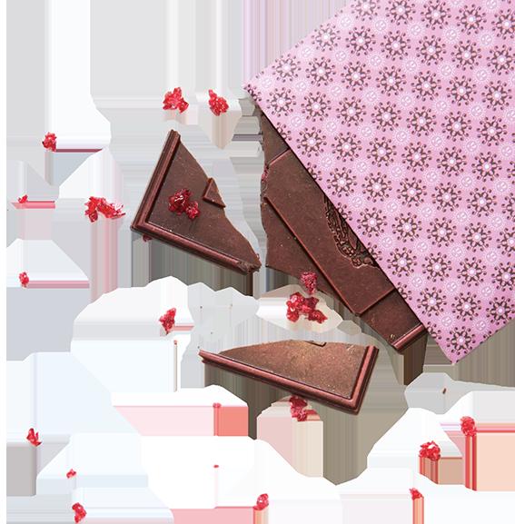 Dunkle Miss Moneypenny Schokolade mit Himbeercrisps