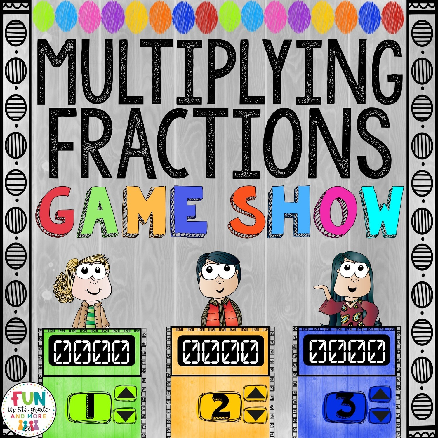 Multiplying Fractions Game Show: 5.NF.4/5.NF.5/5.NF.6 (PowerPoint Game)